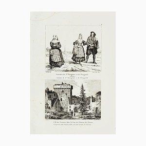 Castel of Clisson - Original Etching - 19th Century 19th Century