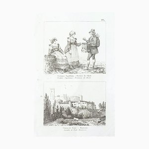 Scenes of Everyday Life in italy - Original Etching - 19th Century 19th Century