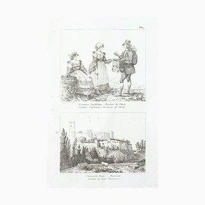 Szenen des Alltags in Italien - Original Radierung - 19. Jahrhundert 19. Jahrhundert