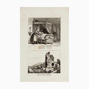 Militärkrankenhaus und Ruine in Heidelberg - Original Radierung - 19. Jahrhundert 19. Jh