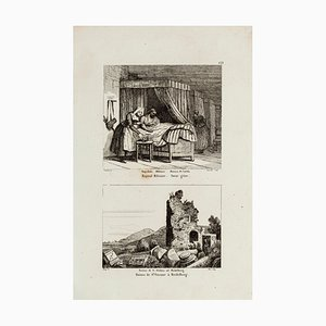 Military Hospital and Ruins in Heidelberg - Original Etching - 19th Century 19th Century