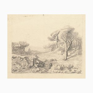 Landscape - Original Pencil Drawing - Mid 20th Century Mid 20th Century