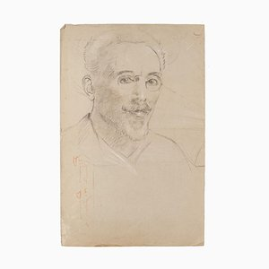 Portrait - Original Pencil Drawing by P. Jamet - Late 19th Century Late 19th Century