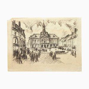 Square - Original Bleistiftzeichnung - Mid 20th Century Mid 20th Century