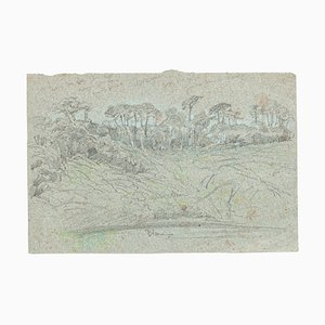 Landscape - Original Charcoal Drawing by French Master mid 1900 Mid 20th Century