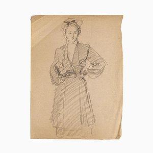 Woman - Original Pencil Drawing - Mid 20th Century Mid 20th Century