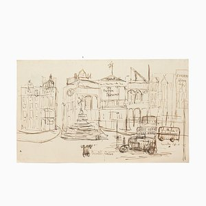 London Piccadilly Circus - Original China Ink Drawing - Early 20th Century Early 1900