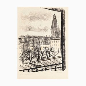 Paris Landscape - Original Lithograph by Pierre Frachon-Forcade - 1950 Mid 20th century