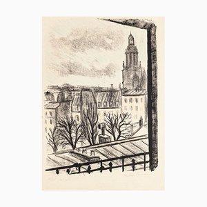Paris Landscape - Original Lithographie von Pierre Frachon-Forcade - 1950 Mid 20th century