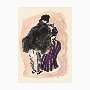 Figures - Original Watercolor on Paper - 1920s Mid 20th Century