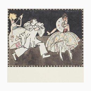 Marionette - Tinte und Aquarell Zeichnung - 1930er Jahre