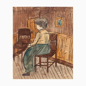 Interior with Figure - Pastel and Watercolor Drawing - Early 20th Century Early 20th Century