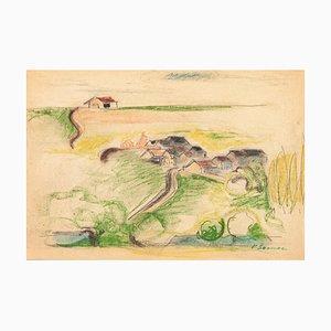 Campagne - Pastel Original sur Papier par Pierre Segogne - 1950s 1950s