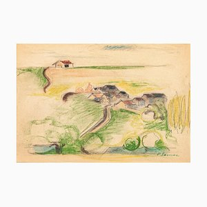 Countryside - Original Pastel on Paper by Pierre Segogne - 1950s 1950s