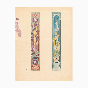 Study for a Decoration - Watercolor on Paper by French Master Early 1900 Early 20th Century