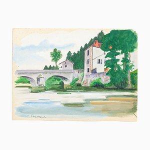 Französische Landschaft - Original Tempera und Aquarell von Pierre Segogne - 1950er 1950er