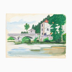 French Landscape - Original Tempera and Watercolor by Pierre Segogne - 1950s 1950s