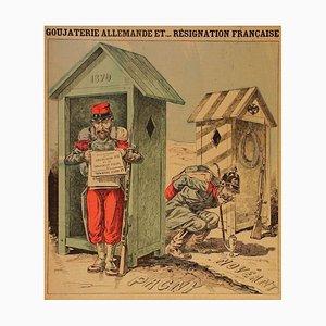 Goujaterie Allemande et... Résignation Française - Original Lithograph 1888 1888