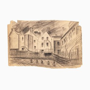 House - Original Charcoal Drawing by French Master mid 1900 Mid 20th Century