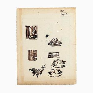 Studi - Disegni ad inchiostro e acquarello su cartone - XX secolo