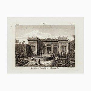 Italian Garden - Original Etching 19th Century 19th Century
