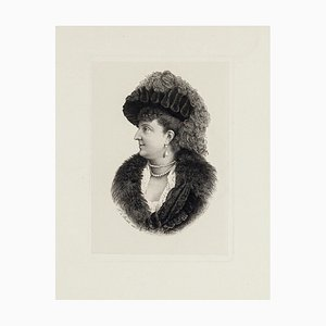 Portrait of Woman - Original Etching Late 9th Century Late 19th Century