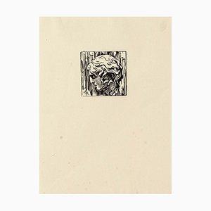 Portrait - Original Holzschnitt - Mitte des 20. Jahrhunderts Mitte des 20. Jahrhunderts