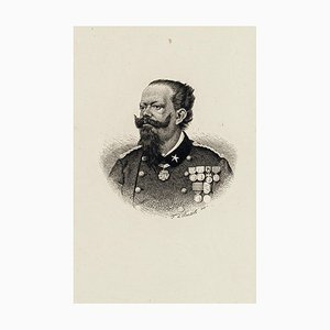 Portrait of Vittorio Emanuele II - Original Etching Late 19th Century Late 19th Century