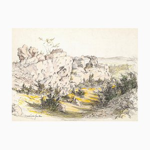 Landscape - Pencil and Pastel Drawing by M. Juan - 1950s 1950s
