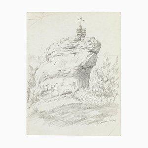 Rock - Bleistiftzeichnung von M. Juan - Spätes 20. Jahrhundert Spätes 20. Jahrhundert