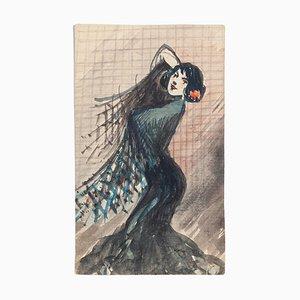 Tango Tänzerin -Original Mixed Media - Mitte des 20. Jahrhunderts Mitte des 20. Jahrhunderts
