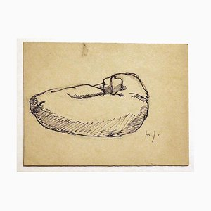 Dog - Original China Ink Drawing - Mid 20th Century Mid 20th Century