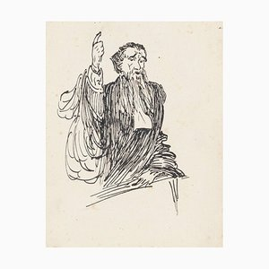 Magistrate - Original China Ink Drawing - Mid 20th Century Mid 20th Century