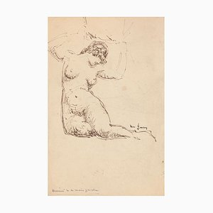 Nude - Original Pen Drawing - Mid 20th Century Mid 20th Century