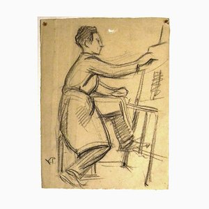 Self Portrait - Original Pencil Drawing by V. Prout - Early 20th Century Early 20th Century