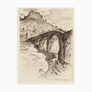 The Bridge - Original Radierung von Paul Adrien Bouroux - Erste Hälfte des 20. Jahrhunderts Erste Hälfte des 20. Jahrhunderts