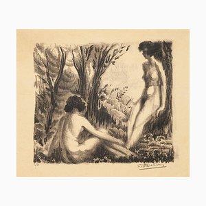 Nudes in Nature - Original Lithographg - Mid 20th Century Mid 20th Century