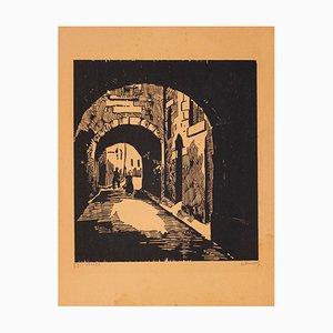 L'Impasse - Original Woodcut - Mid 20th Century Mid 20th Century
