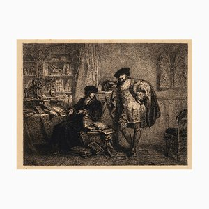 Men in Room - Original Etching - Early 19th Century Early 19th Century
