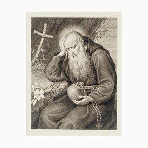 Hieronymus mit Totenkopf - Originale Radierung - 18. Jahrhundert