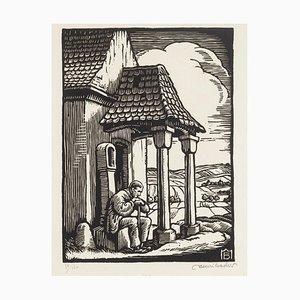 Lonely Man - Original Woodcut - Mid 20th Century Mid 20th Century