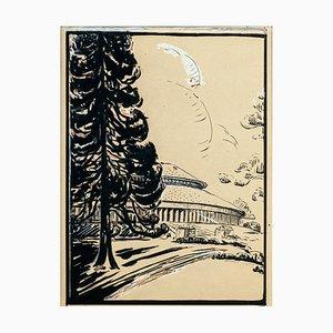 Landscape - Original Mixed Media - mid 1900 Mid 20th Century