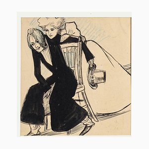Couple - Original China Ink Drawing and Pastel by Maria Lourdey - Early 1900 Early 1900