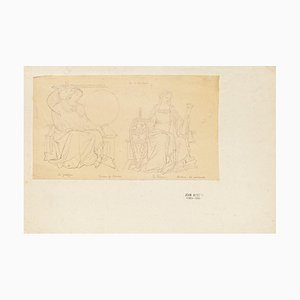 Scene from the Pavement of the Dome in Siena - Pencil Drawing - 1844 1844