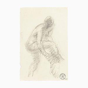 Man - Original Pencil Drawing by S. Goldberg - Mid 20th Century Mid 20th Century