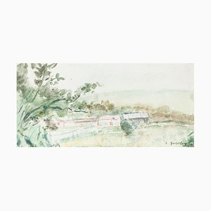 Landscape - Original Watercolor von S. Goldberg - Mid 20th Century Mid 20th Century