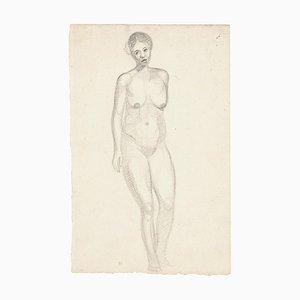 Mujer desnuda - Dibujo de lápiz original - Mid-Century Mid-Century, siglo XX