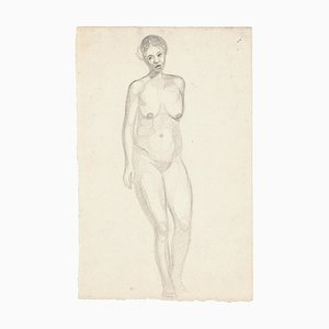 Nude Woman - Original Pencil Drawing - Mid 20th Century Mid 20th Century