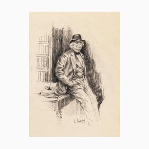 Portrait of Gentleman - Original Lithograph by A. Achenbach - Late 19th Century Late 19th Century