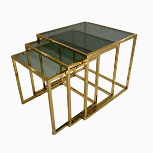 Brass & Glass Nesting Tables by Guy Lefèvre for Maison Jansen, 1970s